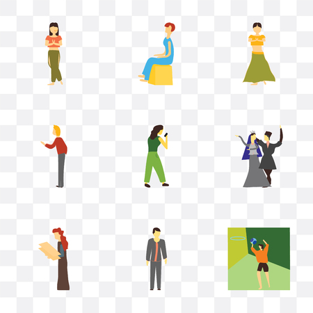 Set Of 9 simple transparency icons such as Basketball playing man, Standing boy, Woman holding message, National dancing girl and Boxer girl, greeting, Indian dancer Sitting woman,