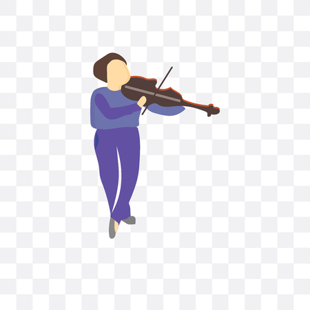 Girl playing violin vector icon isolated on transparent background, Girl playing violin logo concept Illustration