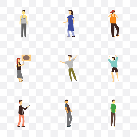 Set Of 9 simple transparency icons such as Boy standing, Handsome man, Man with phone, dancing Woman holding message, rapper woman Standing can be used for Illustration