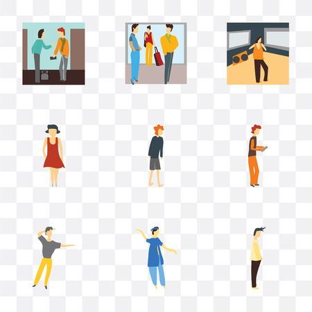 Set Of 9 simple transparency icons such as Standing Man, indian boy dancing, dancing man, Boy playing with phone, standing woman, Woman standing, Man watching TV, Crowd of people talking, People pay Illustration