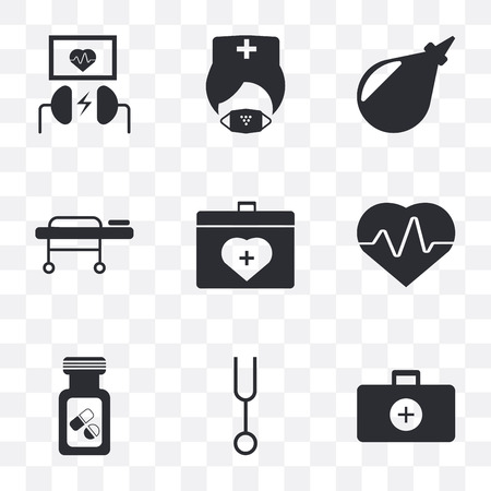 Set Of 9 simple transparency icons such as Doctor briefcase, Tuning fork, Vial, Cardiogram, Organ container, Stretcher, Enema, Mask, Defibrillator, can be used for mobile, pixel perfect vector icon