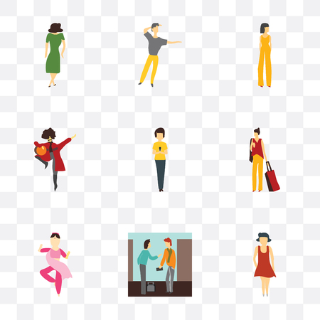 Set Of 9 simple transparency icons such as Woman standing, People pay money, indian girl dancing, with bag, phone, man national Beautiful girl, dancing man, Dancing woman,