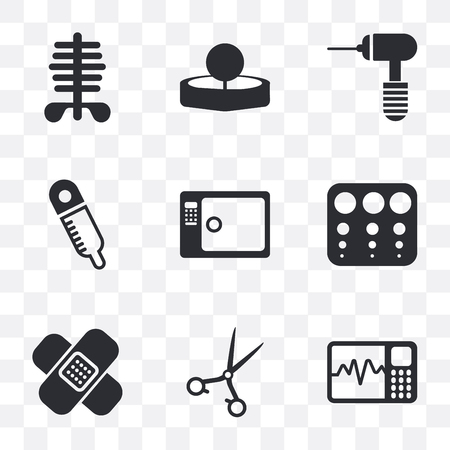 Set Of 9 simple transparency icons such as Cardiogram, Medical clamp, Band aid, Sight check table, Sterilization, Rake, drill, Head mirror, Scissors, can be used for mobile, pixel perfect Illustration