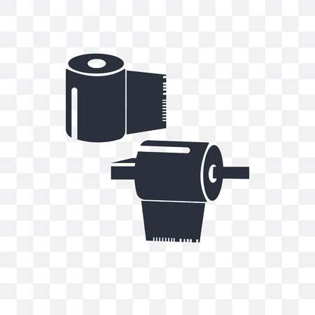 Rolled paper for bathroom vector icon isolated on transparent background, Rolled paper for bathroom logo concept Illustration