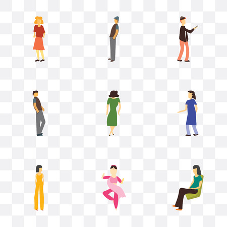 Set Of 9 simple transparency icons such as Sitting woman, indian girl dancing, Beautiful girl, woman standing, Dancing Handsome man, Man with phone, Man, Standing can be used for