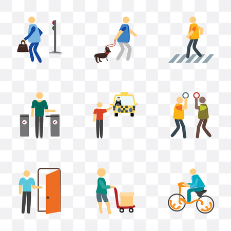 Set Of 9 simple transparency icons such as Bicycle, Airport, Exit, Silence, Cab, Validating ticket, Pedestrian, Walking the dog, can be used for mobile, pixel perfect vector icon pack on