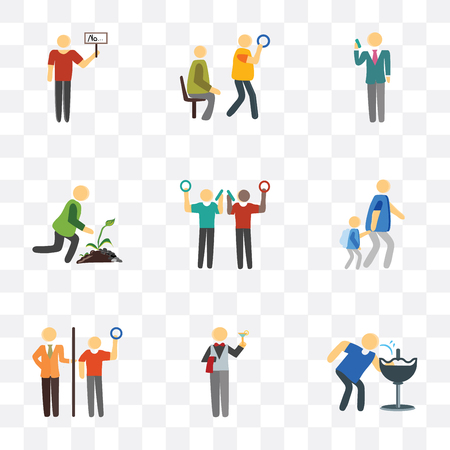 Set Of 9 simple transparency icons such as Drinking, Waiter, Ticket collector, Walking to school, Phone call, Gardening, Public transport, Protester, can be used for mobile, pixel perfect Illusztráció