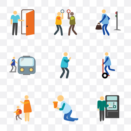 Set Of 9 simple transparency icons such as Ticket machine, Drunk, Goodbye, Photo, Train, Pedestrian, Silence, Exit, can be used for mobile, pixel perfect vector icon pack on transparent