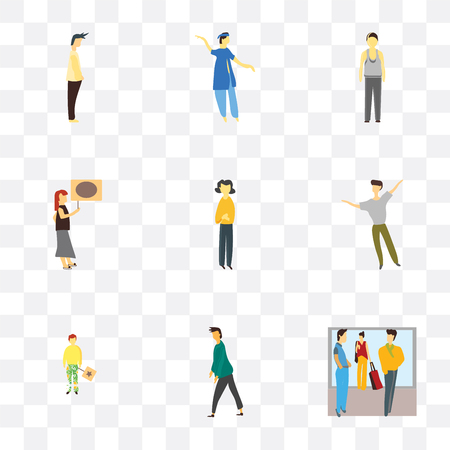 Set Of 9 simple transparency icons such as Crowd of people talking, Man, Person holding message, dancing man, Standing girl, Woman indian boy dancing, can Illustration
