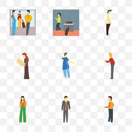 Set Of 9 simple transparency icons such as Standing person, boy, Fashion girl standing, Woman greeting, indian boy dancing, holding message, Man, walking with bags,