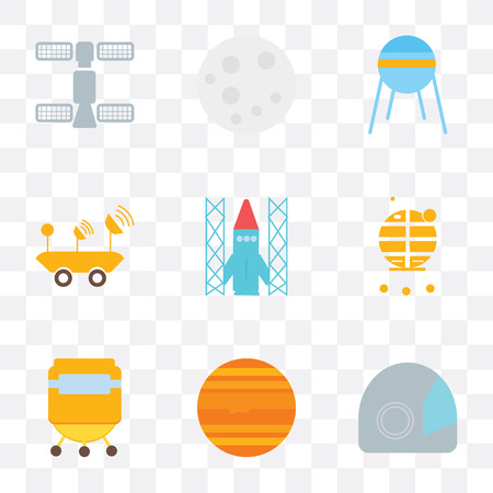 Set Of 9 simple transparency icons such as Space suit, Jupiter, capsule, Lunar module, shuttle, Moon rover, Sputnik, Moon, station, can be used for mobile, pixel perfect vector icon Illustration
