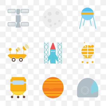 Set von 9 einfachen Transparenz-Symbolen wie Raumanzug, Jupiter, Kapsel, Mondmodul, Shuttle, Mondrover, Sputnik, Mond, Station, kann für mobile, pixelgenaue Vektorsymbole verwendet werden
