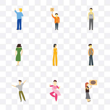 Set Of 9 simple transparency icons such as Woman holding message, indian girl dancing, dancing man, Man, Beautiful girl, Dancing woman, Standing Person can be used