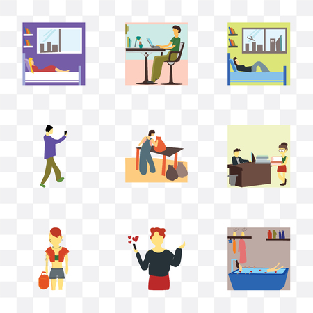 Set Of 9 simple transparency icons such as Girl having bath, Woman calling lover, Pink hai girl, People working in the office, Person Cleaning trash, Man taking selfie, Boy sleeping bed,
