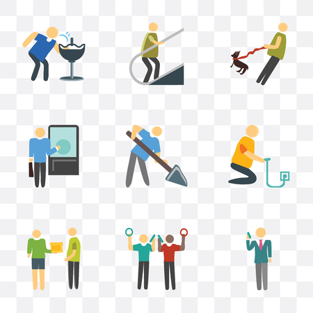 Set Of 9 simple transparency icons such as Phone call, Courier, Charging, Worker, Knocking, Walking the dog, Escalator, Drinking, can be used for mobile, pixel perfect vector icon pack on Banque d'images - 111745988