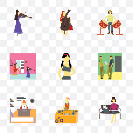 Set Of 9 simple transparency icons such as Girl reading papers, Dj, Modern woman working in the office, 2 Man talking business, Beautiful girl, Girls playing violin, man drum,