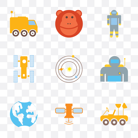 Set Of 9 simple transparency icons such as Moon rover, Satellite, Planet earth, Astronaut, Solar system, Hubble space telescope, Monkey, can be used for mobile, pixel perfect