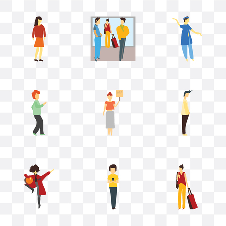 Set Of 9 simple transparency icons such as Woman with bag, phone, man national dancing, Standing Man, holding message, dancing man, indian boy Crowd of people talking,