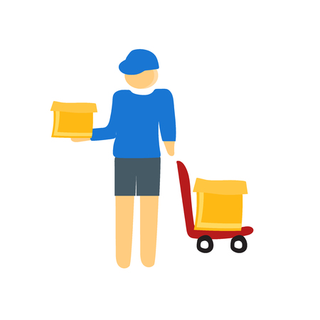 Delivery man icon vector isolated on white background for your web and mobile app design, Delivery man concept person Stock Illustratie