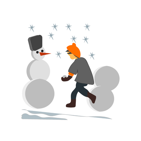 Kids making snowman vector vector isolated on white background for your web and mobile app design, Kids making snowman vector logo concept Logo
