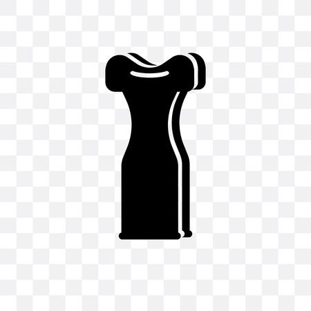 Icono de vector de vestido largo aislado sobre fondo transparente, concepto de logo de vestido largo