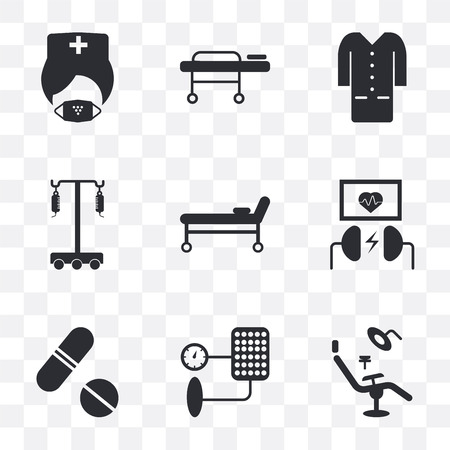 Set Of 9 simple transparency icons such as Dentist chair, Blood pressure, Pills, Defibrillator, Stretcher, Hanger, Lab coat, Mask, can be used for mobile, pixel perfect vector icon pack on
