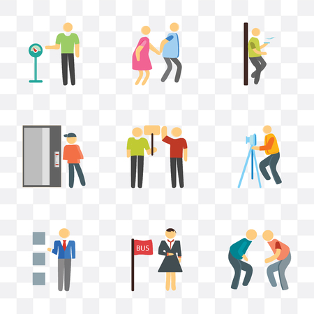 Set Of 9 simple transparency icons such as Fighting, Bus stop, Lockers, Photography, Protest, Elevator, Smoking, Walking, Parking meter, can be used for mobile, pixel perfect vector icon pack on