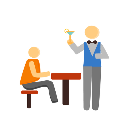 Waiter icon vector isolated on white background for your web and mobile app design, Waiter concept person Иллюстрация