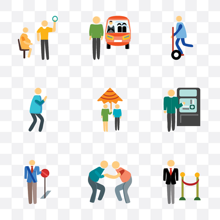 Set Of 9 simple transparency icons such as Doorman, Playing, Stop, Ticket machine, Raining, Photo, Segway, Driver, Pregnant priority, can be used for mobile, pixel perfect vector icon pack on