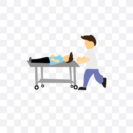 Man lay on medical stretcher vector icon isolated on transparent background, Man lay on medical stretcher logo concept