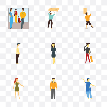 Set Of 9 simple transparency icons such as indian boy dancing, Man with costume, Standing girl, Girl talking on the phone, Business woman, Man, Woman holding message, Person