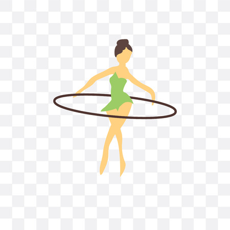 girl hula hoop vector icon isolated on transparent background, girl hula hoop logo concept