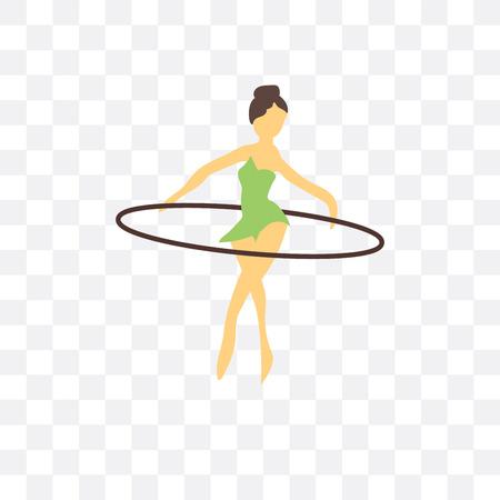 Icône de vecteur de fille hula hoop isolé sur fond transparent, concept logo fille hula hoop
