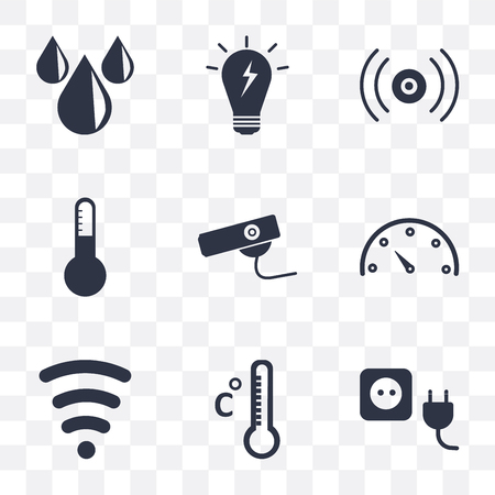 Set Of 9 simple transparency icons such as Plug, Temperature, Wireless, Meter, Security camera, Thermostat, Sensor, Smart, Water, can be used for mobile, pixel perfect vector icon pack on transparent Vector Illustration