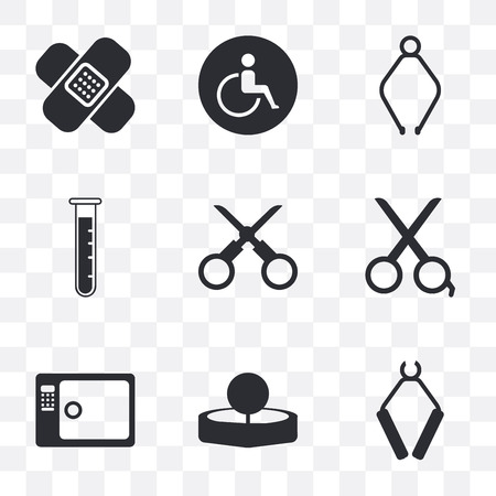 Set Of 9 simple transparency icons such as Pliers, Head mirror, Sterilization, Scissors, Test tube, Wheelchair, Band aid, can be used for mobile, pixel perfect vector icon pack on Illustration