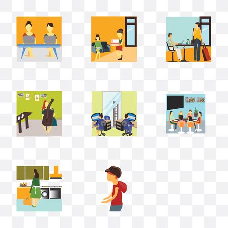 Set von 9 einfachen Transparenzsymbolen wie Mädchen, das im Büro arbeitet, Junge, die spazieren geht, Frauenküche, Familie, die zusammen zu Mittag isst, Team, das Cellos spielt, Leute Vektorgrafik