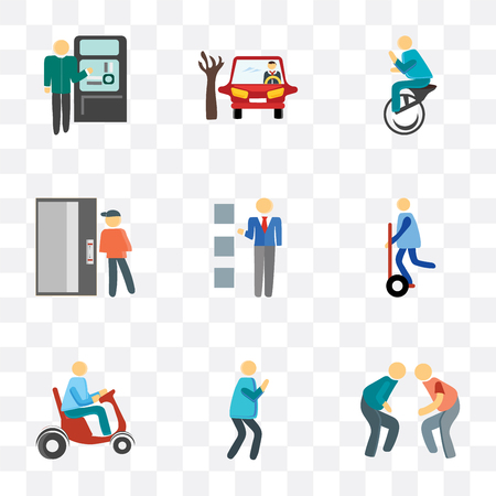 Set Of 9 simple transparency icons such as Fighting, Photo, Scooter, Segway, Lockers, Elevator, Unicycle, Parking, Ticket machine, can be used for mobile, pixel perfect vector icon pack on Stock Illustratie