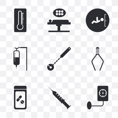 Set Of 9 simple transparency icons such as Blood pressure, Syringe, Antibiotic, Tweezers, Mirror, Sa, Ultrasonography, Operating table, Thermometer, can be used for mobile, pixel perfect vector icon