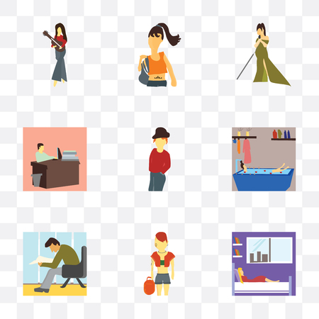 Set Of 9 simple transparency icons such as Girl sleeping in the bed, Pink hai girl, Man reading papers, having bath, standing, working office, Artist singing, Long hair