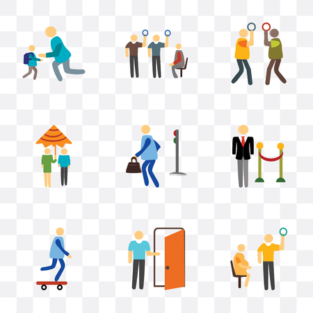 Set Of 9 simple transparency icons such as Pregnant priority, Exit, Skater, Doorman, Pedestrian, Raining, Silence, Public transport, Scholar, can be used for mobile, pixel perfect vector icon pack on