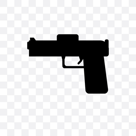 Pistol vector icon isolated on transparent background, Pistol logo concept Stock Vector - 106870365