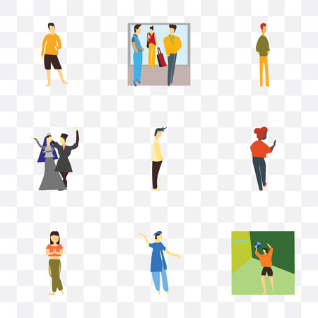 Set Of 9 simple transparency icons such as Basketball playing man, indian boy dancing, Beautiful girl African standing, Standing Man, National dancing and boy, Crowd Illustration