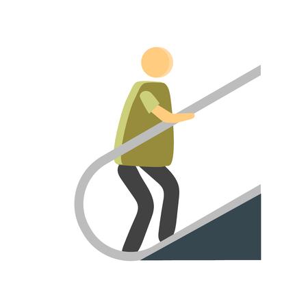 Escalator icon vector isolated on white background for your web and mobile app design, Escalator logo concept person Ilustração