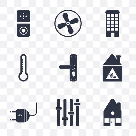 Set Of 9 simple transparency icons such as Home, Panel, Plug, Construction, Handle, Temperature, House, Fan, Doorbell, can be used for mobile, pixel perfect vector icon pack on transparent background Vettoriali