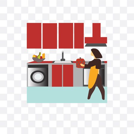 Woman cooking in the kitchen vector icon isolated on transparent background, Woman cooking in the kitchen logo concept