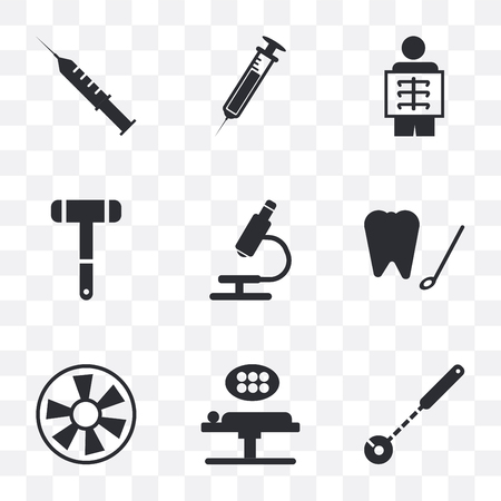 Set Of 9 simple transparency icons such as Mirror, Operating table, Turbine, Dental hook, Microscope, Neurology reflex hammer, X ray, Needle, Syringe, can be used for mobile, pixel perfect vector