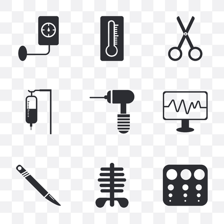 Set Of 9 simple transparency icons such as Sight check table, Scissors, Scalpel, Monitor, Medical drill, Sa, Thermometer, Blood pressure, can be used for mobile, pixel perfect vector icon