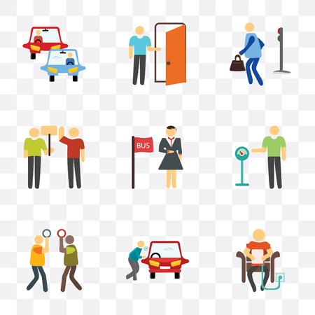 Set Of 9 simple transparency icons such as Charging, Locked car, Silence, Parking meter, Bus stop, Protest, Pedestrian, Exit, Traffic, can be used for mobile, pixel perfect vector icon pack on