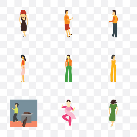 Set Of 9 simple transparency icons such as Dancing woman, indian girl dancing, Woman walking with bags, Beautiful girl, Fashion standing, Standing person, Man phone,
