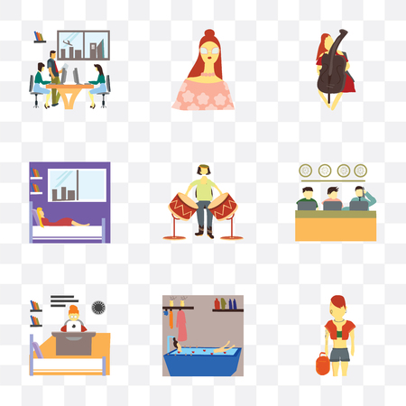 Set Of 9 simple transparency icons such as Pink hai girl, Girl having bath, Modern woman working in the office, People working, man playing drum, sleeping bed, cellos,